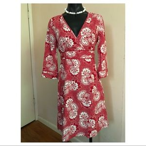 BODEN Red White Floral 3 Season Tie-back Dress S M